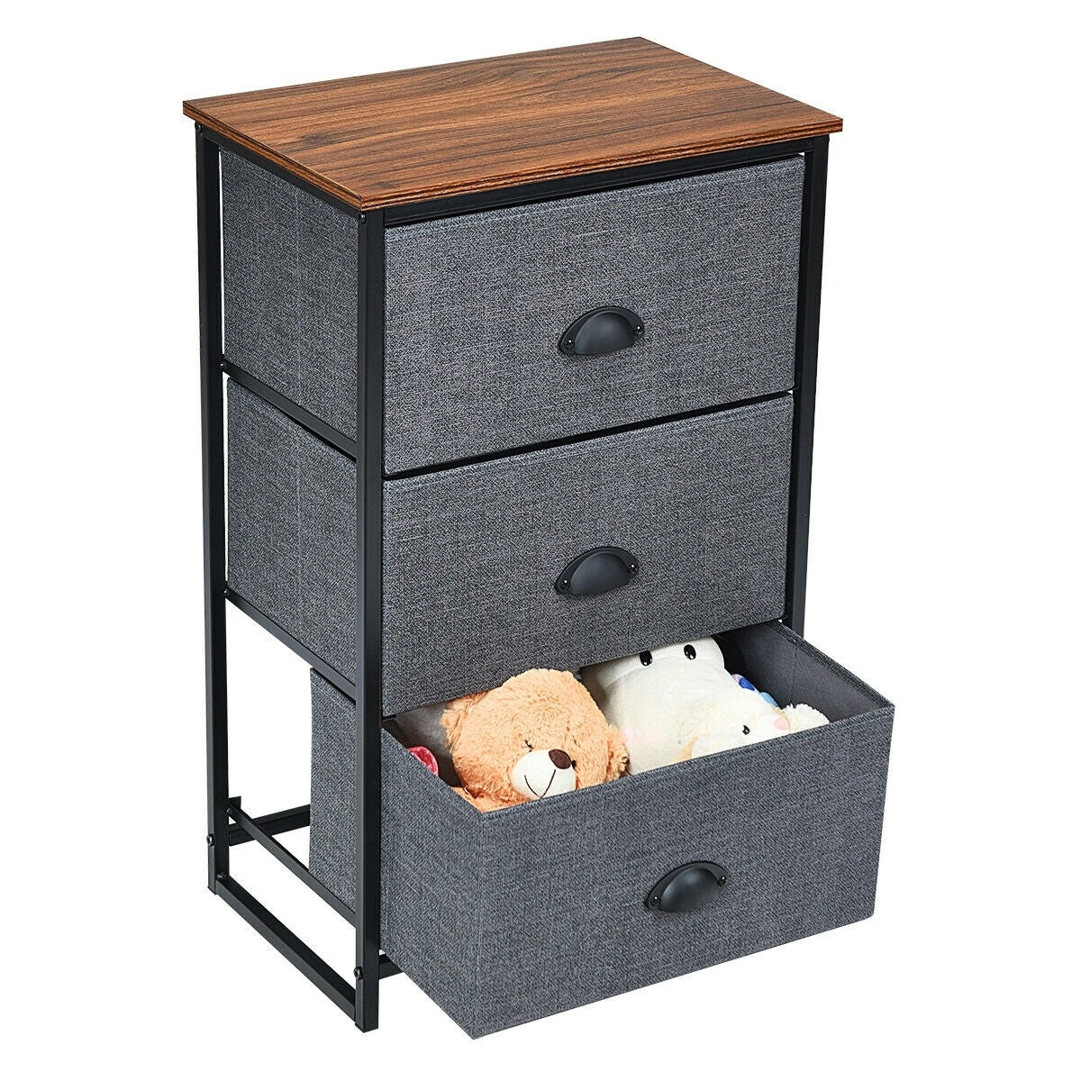 Bedside Table Oak Wooden Storage Unit with 3 Drawers Storage Cabinet with Metal Handles Storage Cupboard for Bathroom Kitchen Bedroom Office Livingroom,40x35x62cm