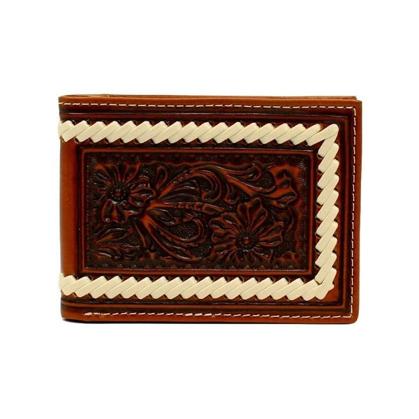 Ariat Western Wallet Mens Bifold Floral Embossed Laced Tan