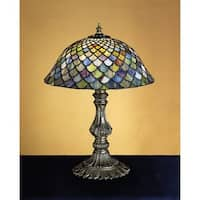 Meyda Tiffany 26673 Stained Glass / Tiffany Accent Table Lamp from the Tiffany Fishscale Collection - n/a