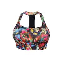 Jessica Simpson Women's Warm Up Printed Racerback Sports Bra - Butterfly