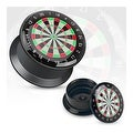 Classic Dart Board Print Black Acrylic Flat Screw Fit Plug (Sold Individually) - Thumbnail 0