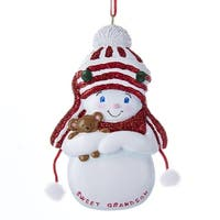 """Club Pack of 12 Vibrantly Colored Decorative """"Sweet Grandson"""" Signed Snow-Boy Ornaments 4"""" - WHITE"""