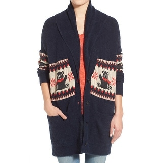 Stem NEW Blue Women Small S Long Shawl Collar Intarsia Cardigan Sweater