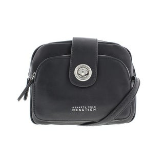 Kenneth Cole Reaction Womens Toggle Mini Faux Leather Crossbody Handbag - Black - SMALL