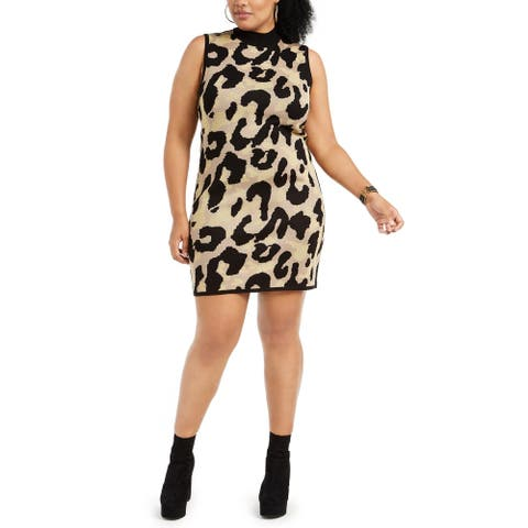 Planet Gold Womens Sweaterdress Animal Print Coctail - Silver Mink/Black
