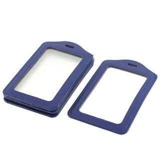 Vertical Type Badge ID Card Holders Dark Blue Clear 11 x 7cm 5Pcs