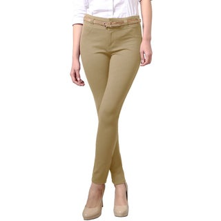 NE PEOPLE WOMEN'S Comforable Stretchy Slim Fit Skinny Pants with Belt (3 options available)