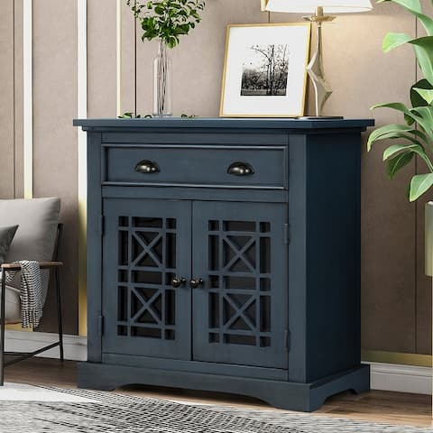 Retro Storage Cabinet wih Doors and Big Wood Drawer, Home Office Furniture Storage Chest, Espresso