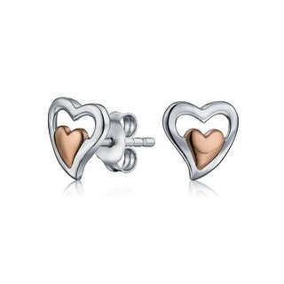 Bling Jewelry Two Toned Double Heart Stud earrings Rose Gold Plated 7mm - Pink