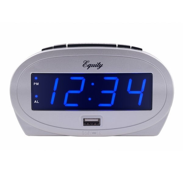 """Equity by La Crosse 30025 0.9"""" LED alarm clock with USB charge port. Opens flyout."""
