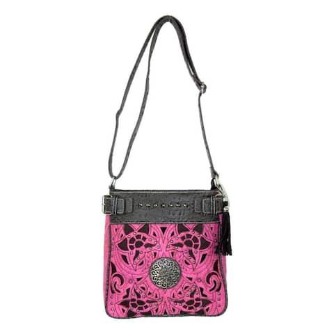 Savana Western Messenger Bag Womens Crossbody Inlay Hot Pink - Hot Pink - 10 x 10.5 x 3