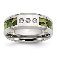 Chisel Stainless Steel Polished Camoflauge 1/10ct. tw. Diamond 8mm Band