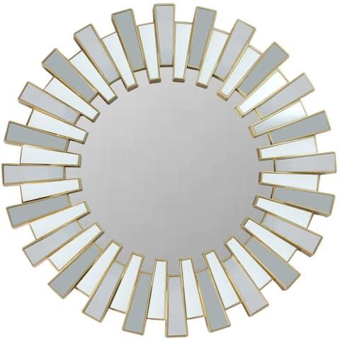 """25.5"""" Aztec Sunburst Matte Gold Round Wall Mirror"""