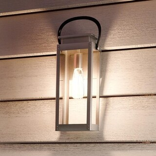 "Luxury Modern Farmhouse Outdoor Wall Light, 15.875""H x 6.5""W, with Nautical Style, Stainless Steel Finish by Urban Ambiance"