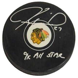 Jeremy Roenick Signed Blackhawks Logo Hockey Puck w9x All Star