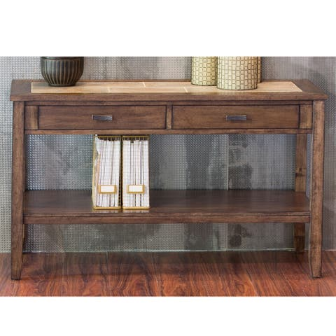 Mesa Valley Tobacco Ceramic Tile Top Sofa Table