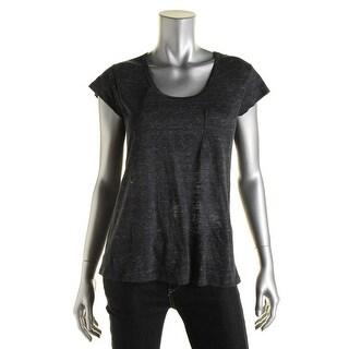 Joie Womens Yamila Linen Semi-Sheer T-Shirt