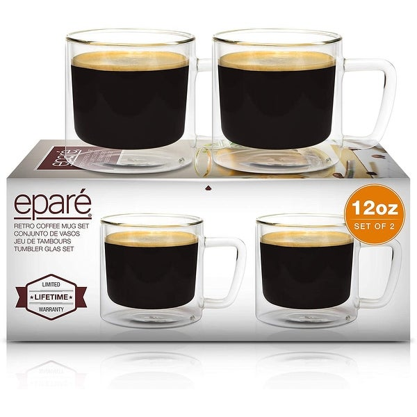 Epare Retro Coffee Mugs 12oz Clear Glass Double Wall Cups Set of 2. Opens flyout.