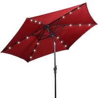 Costway 9ft Patio Solar Umbrella LED Patio Market Steel Tilt w/ Crank Outdoor (Burgundy) - Red