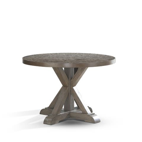 The Gray Barn Morgause Grey Oak 48-inch Round Dining Table