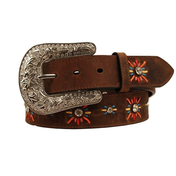 Nocona Western Belt Womens Leather Lace Starburst Brown