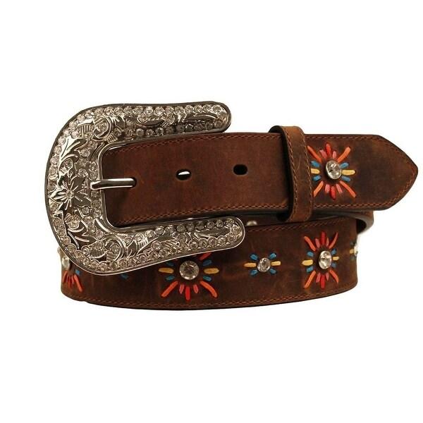 Nocona Western Belt Womens Leather Lace Starburst Brown