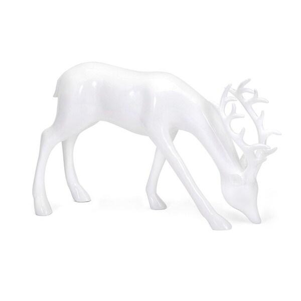 "9.5"" Classical Crisp White Decorative Grazing Reindeer Sculpture"