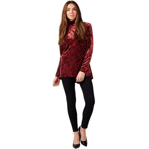 Isaac Mizrahi Live Womens Velvet Mock-Neck Top W/Peplum Plus 3X Mahogany A344324