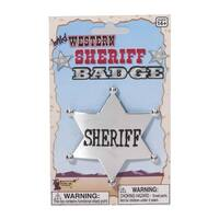 Western Cowboy Sheriff Badge Costume Accessory - Silver