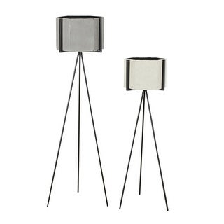 Aspire Home Accents 5797  Ethan Set of 2 Hexagonal Metal Planters - Gray
