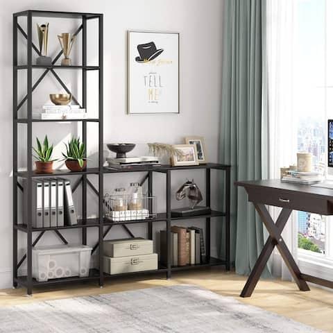 L Shape Bookshelf 9 Shelf Ladder Corner Etagere Bookcase Display Rack for Living Room Bedroom