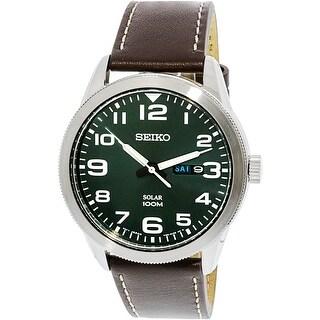 Seiko Men's SNE473 Silver Leather Quartz Fashion Watch