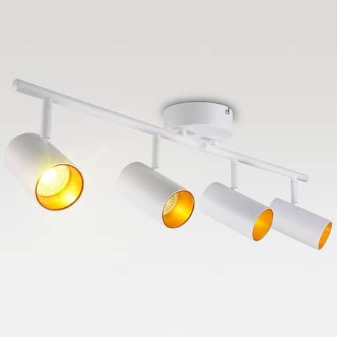 White-Gold Series 4-Light LED Track Light, Dimmable Ceiling Spotlight 3000K Warm White - 1PACK