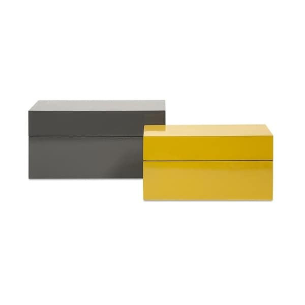 Set Of 2 Bauhaus High Gloss Graphite Gray And Yellow Rectangular Lidded  Storage Boxes