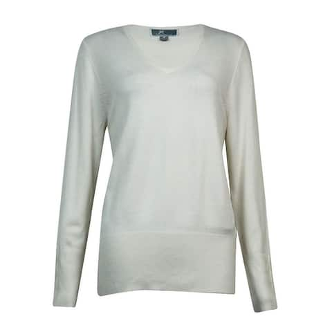 JM Collection Women's V-Neck Button-Sleeves Sweater