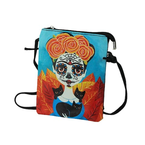Day of the Dead Sugar Skull Frida Mexican Woman Zippered Crossbody Bag - 1 X 7.25 X 5.75 inches