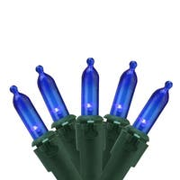 "Set of 100 Blue LED Mini Christmas Lights 4"" Spacing - Green Wire"