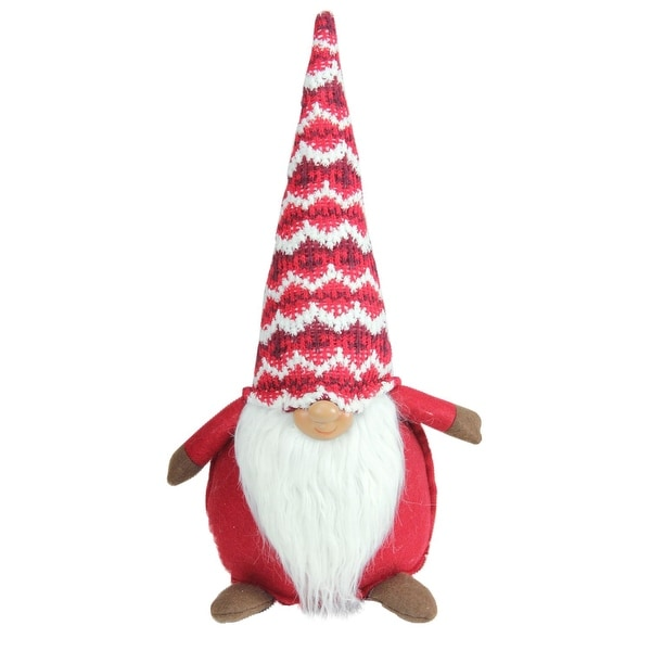 "15"" Christmas Morning Red and White Christmas Gnome with Fancy Cap Tabletop Figure"