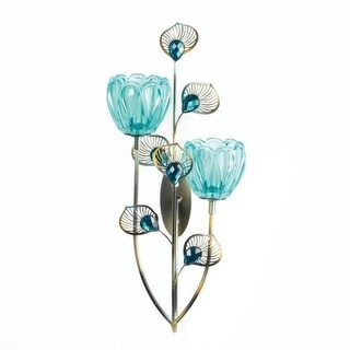 2 Peacock Blossom Duo Cup Sconces