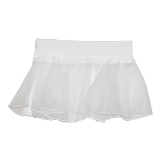 Girls White Solid Color Stretch Waistband Dancewear Chiffon Skirt