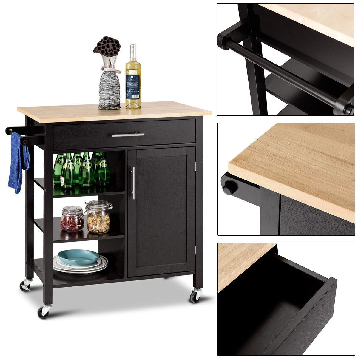 Costway 4 Tier Rolling Wood Kitchen Trolley Cart Island Storage Cabinet Shelf Drawer As Pic