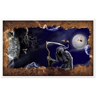 Pack of 6 Grim Reaper and Open Grave Insta-View Halloween Wall Decorations