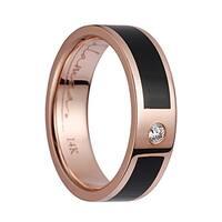 14K Rose Gold Flat Wedding Band With Ebony Wood Inlay & 1 Diamond Setting - 6mm