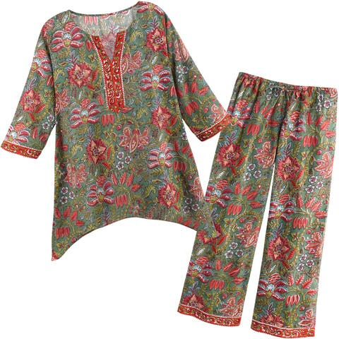 Women's Floral Vines Pajamas - PJ Top Shirt and Lounge Pants Set