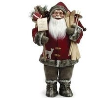 "18"" Santa Claus with Skis and Fur Boots Christmas Figure - RED"