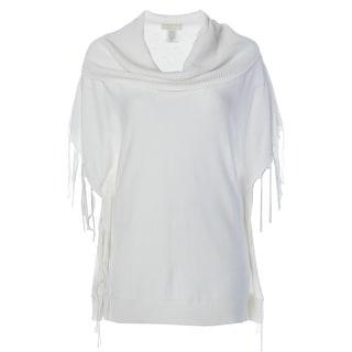 MICHAEL Michael Kors Womens Fringe Ribbed Trim Pullover Sweater