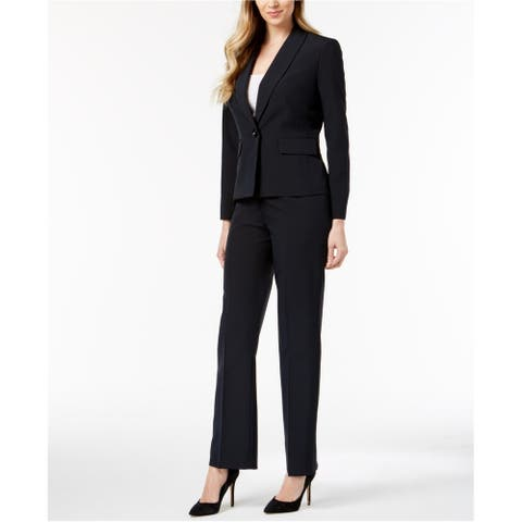 Le Suit Womens Pinstripe Pant Suit, Blue, 4