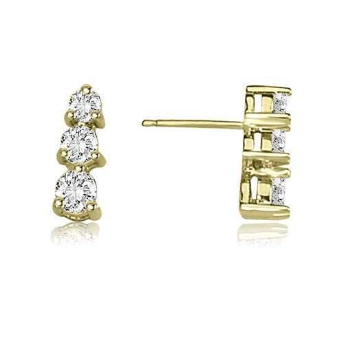 0.50 cttw. 14K Yellow Gold Three-Stone Round Cut Diamond Earrings