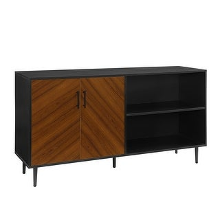 "Delacora WE-BD58BMHPAS  58"" Wide Wood and Metal Asymmetrical Media Cabinet"