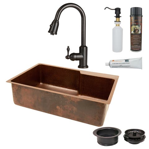 Premier Copper Products KSP2_KSFDB33229 Kitchen Sink, Pull Down Faucet and Accessories Package